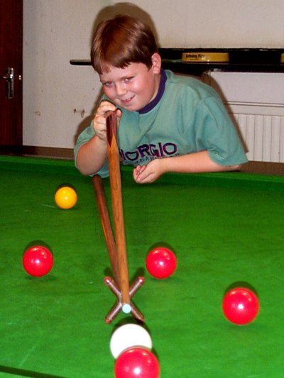 James, the Snooker Kid, at the Conservative Club, London 1997